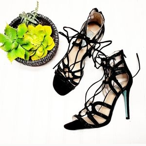 🎉Betsey Johnson Bling Black Lace Up Ankle Heels🎉